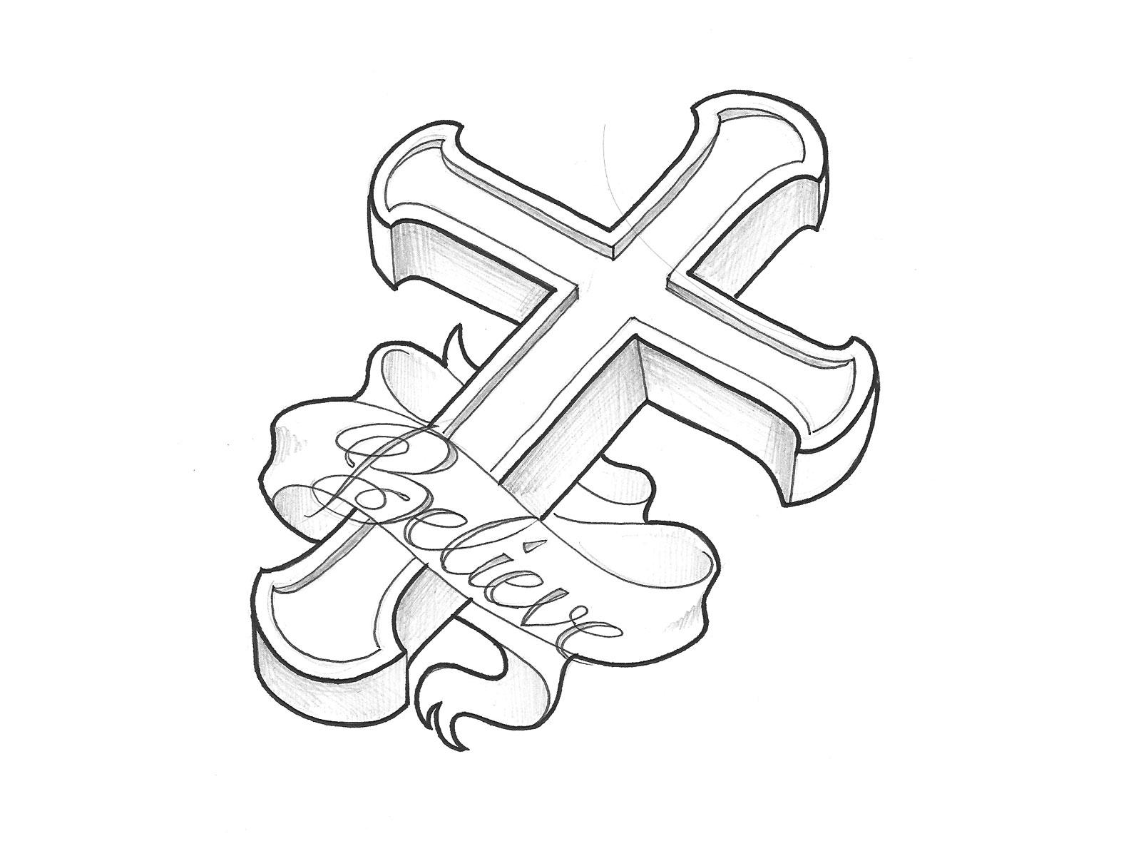 Wooden Cross Drawing At Getdrawings