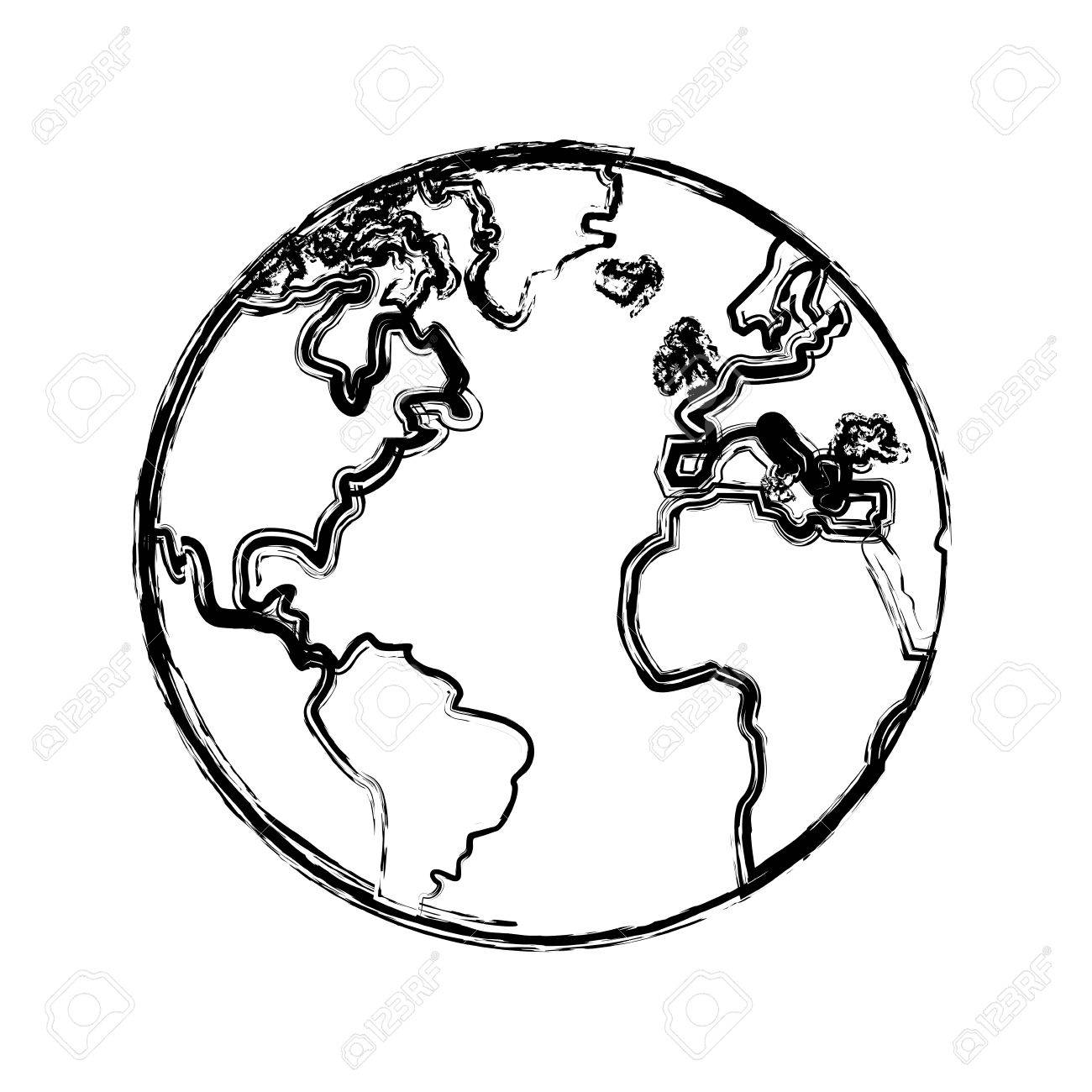 hight resolution of 1300x1300 sketch globe world earth map icon vector illustration royalty free