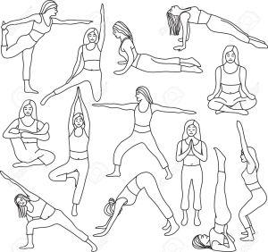 yoga drawing pose poses vector mediation basic clip getdrawings gograph royalty