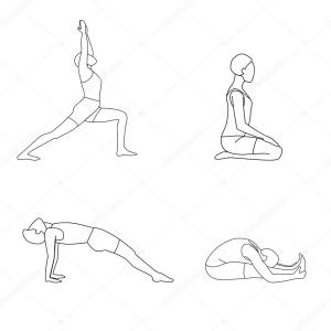 yoga poses drawing vector doing getdrawings