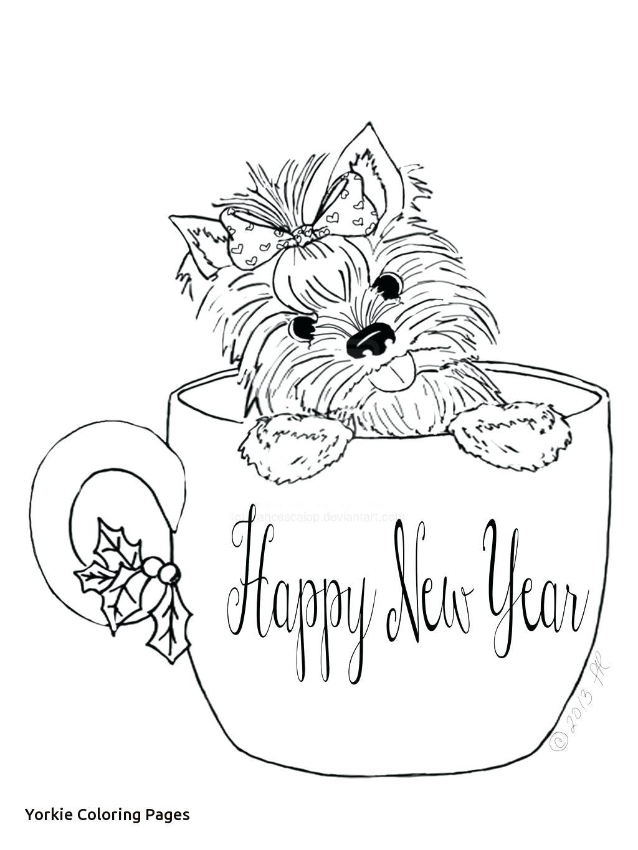 Yorkie Puppies Line Drawings