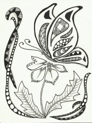zentangle drawing zentangles butterfly coloring simple flowers drawings patterns zen inspired pages phase flower tangles getdrawings doodles draw butterflies doodle