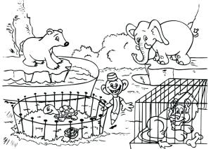 zoo animals drawing coloring easy animal pages getdrawings