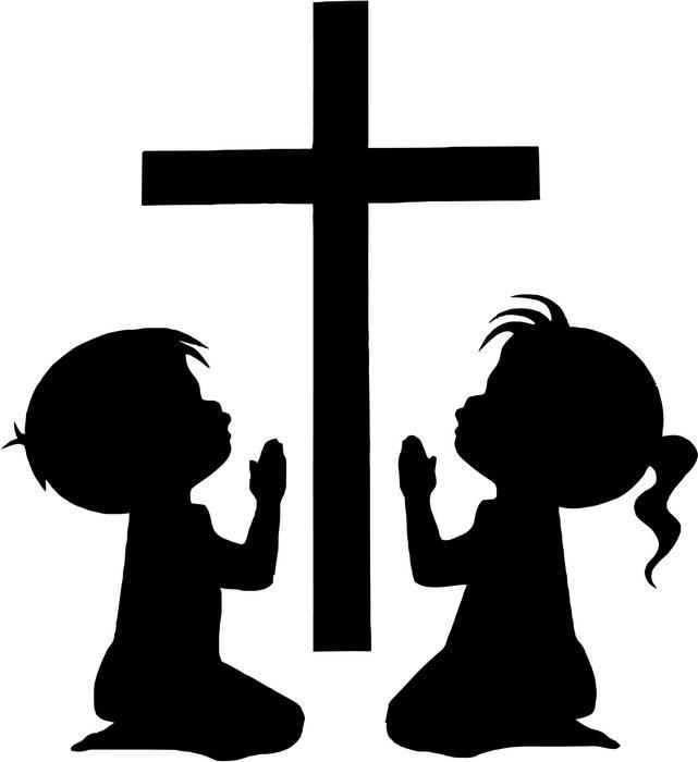 children praying silhouette at