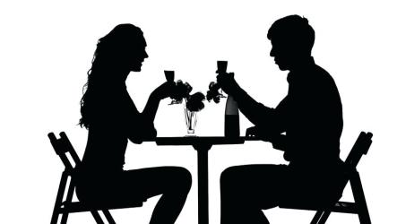 silhouette dining couple dinner romantic clip having background table suspects clinking glasses holder shutterstock