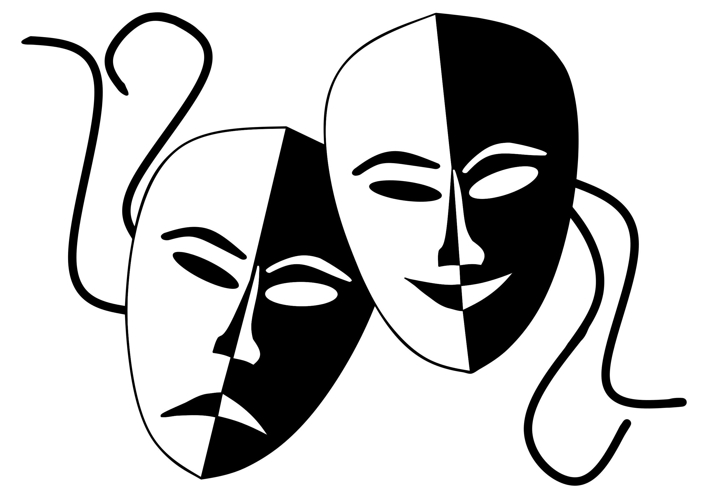 Drama Masks Silhouette At Getdrawings