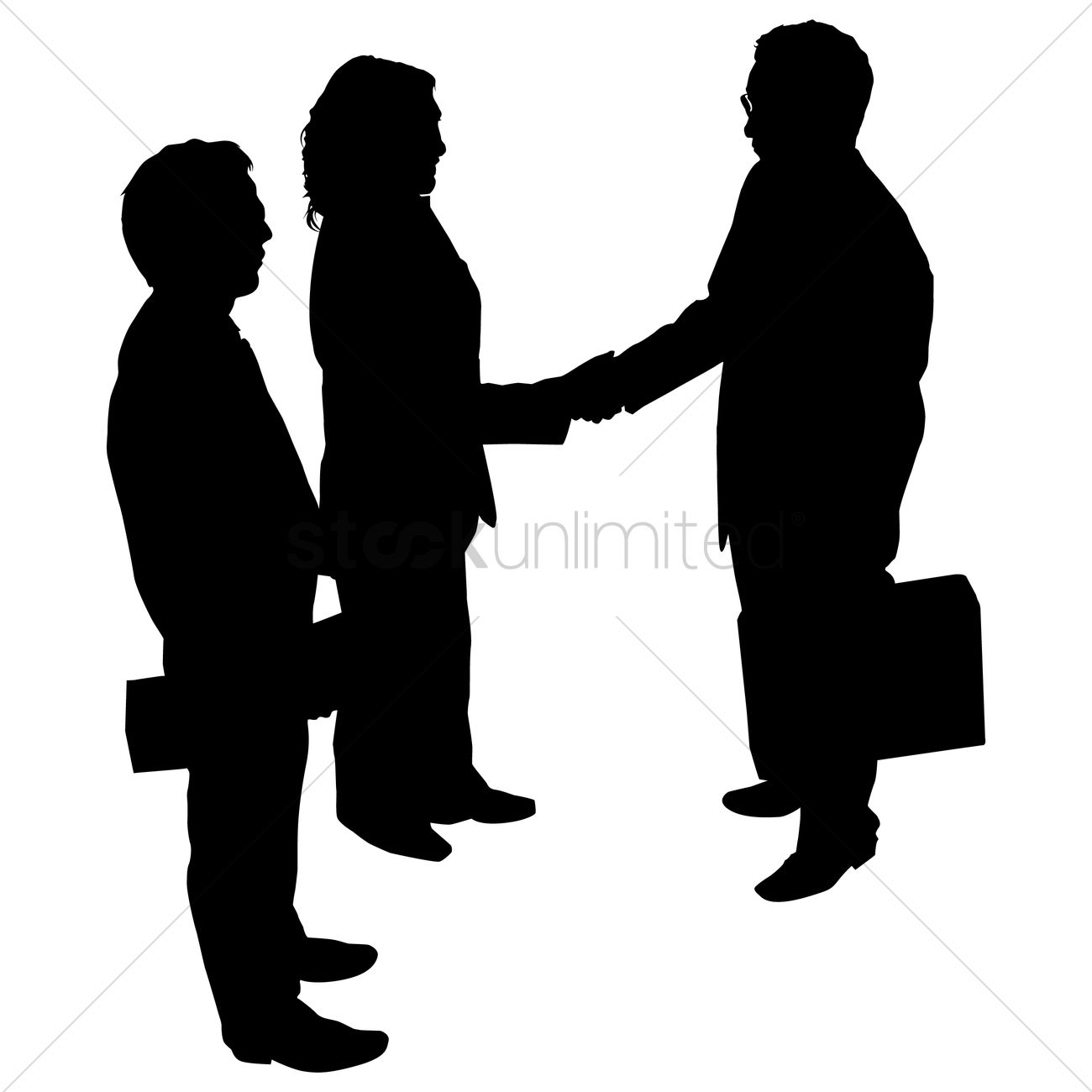 hight resolution of 1300x1300 businessman and woman shaking hand silhouette vector image