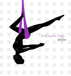 1200x1200 silhouette of woman in anti gravity yoga poses royalty free vector [ 1200 x 1200 Pixel ]