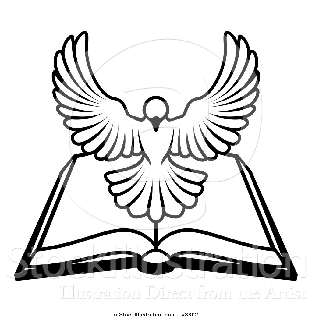 hight resolution of 1024x1044 vector illustration of a blackd white holy spirit dove above