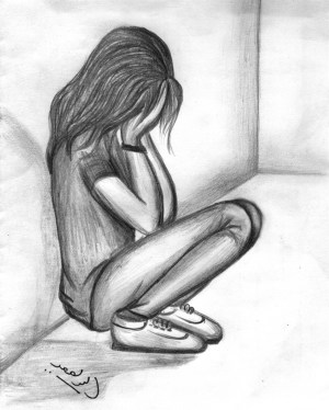 easy depression drawing sad drawings pencil lonely getdrawings