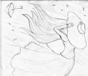 dress blowing in wind drawing