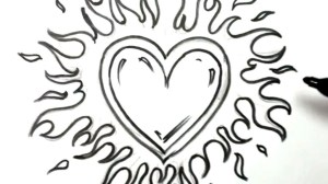 easy drawings drawing heart draw cool flames graffiti boyfriend simple getdrawings cliparts designs hearts fire clip clipartix projects him sketches