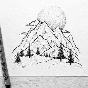 landscape easy beginners drawing draw mountain getdrawings