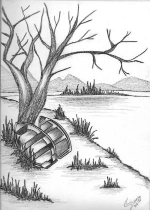 easy drawing beginners landscape draw pencil simple scenery getdrawings