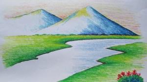 landscape beginners easy drawing mountain oil drawings getdrawings apk
