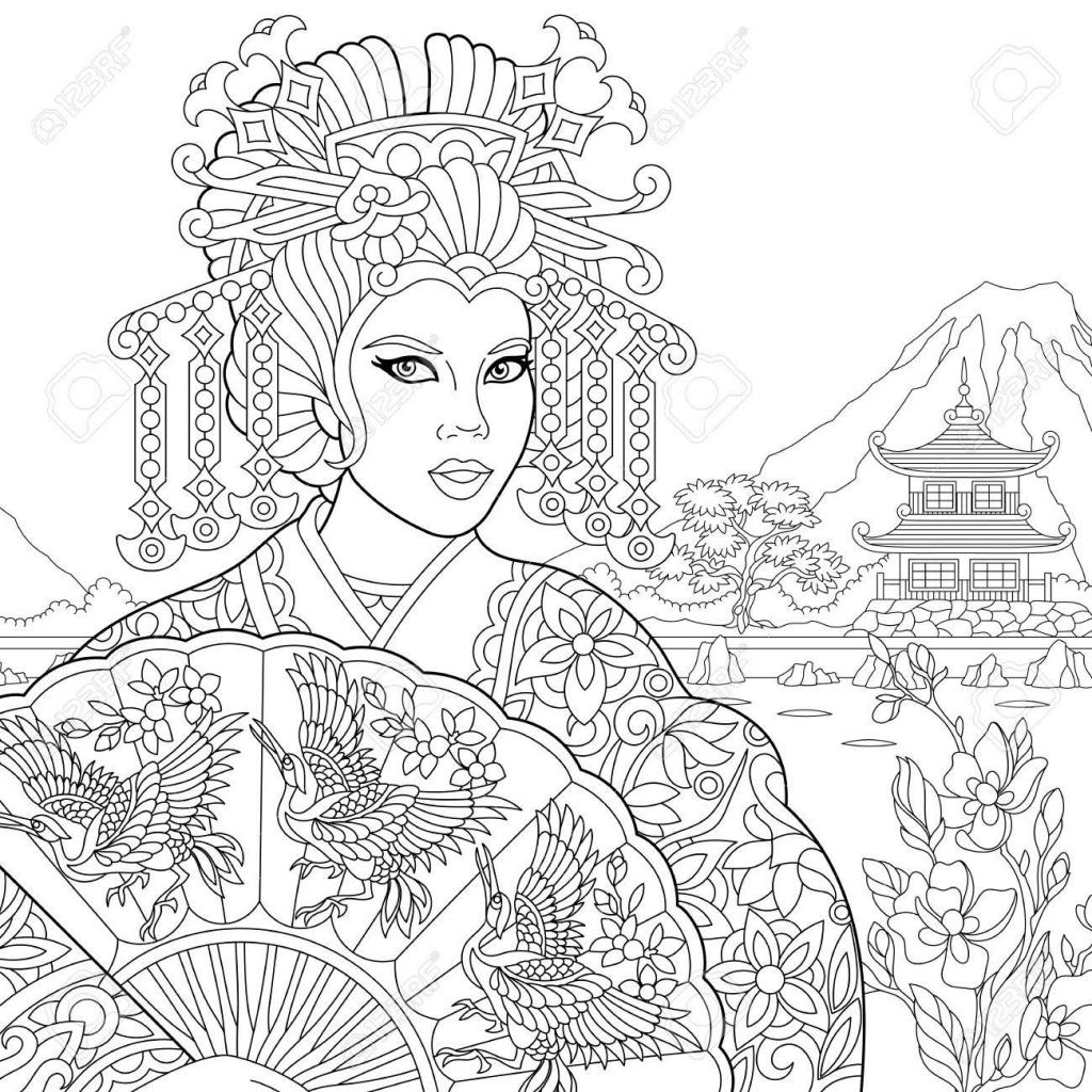 Geisha Face Drawing At Getdrawings