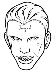 joker squad suicide easy draw quinn harley drawing face step drawings coloring dc anime skull comics pages sketch cartoon tattoos