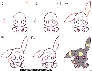 pokemon step easy drawing chibi beginners kawaii umbreon draw nice tutorial simple steps drawings learn getdrawings tutorials drawinghowtodraw lesson pages