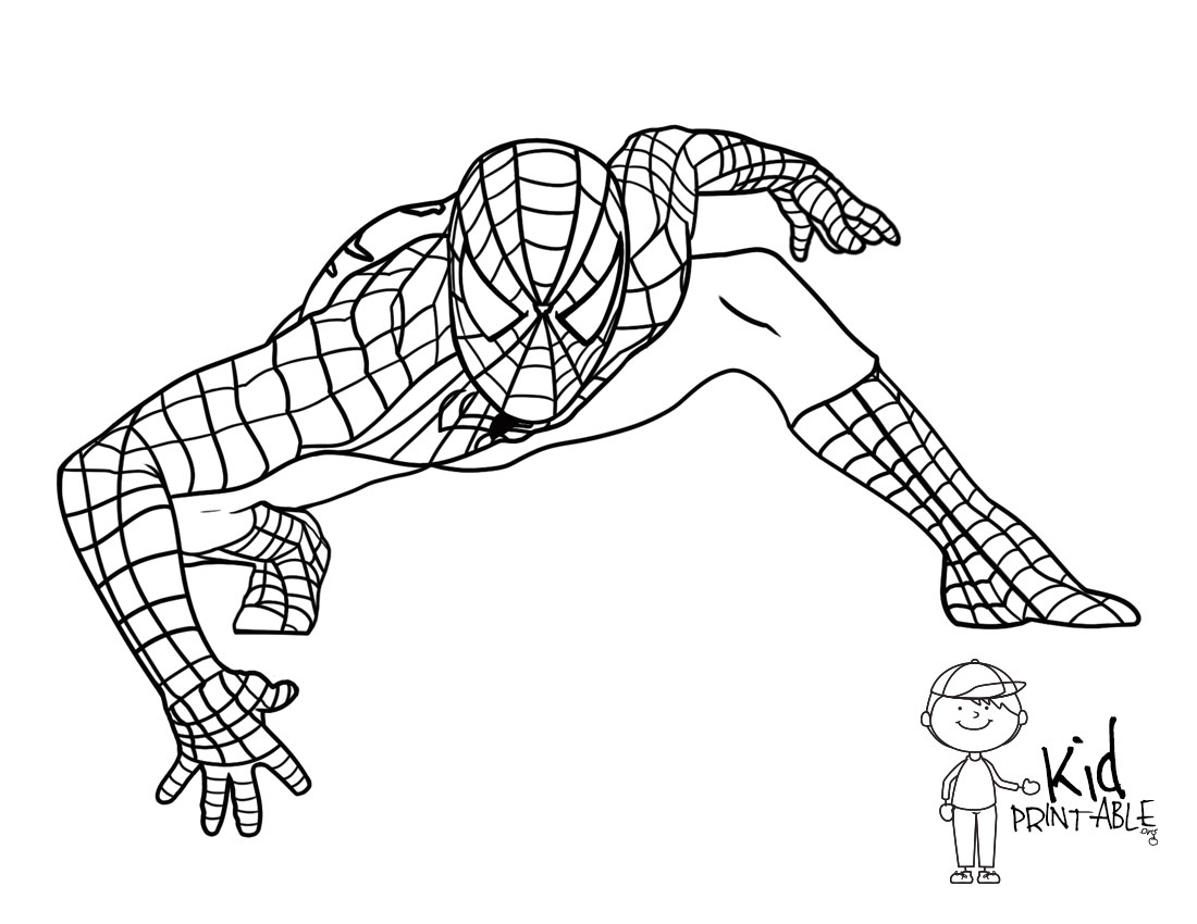 Spiderman Hanging Upside Down Coloring Page Spider Girl Hangin 39