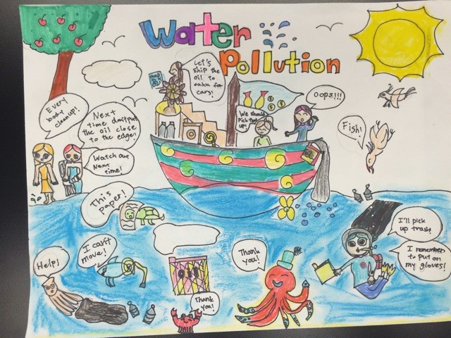 how to draw water pollution easily