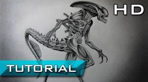 xenomorph alien drawing draw step pencil covenant easy getdrawings fan prometheus steps