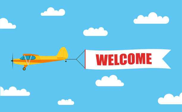 airplane banner vector at