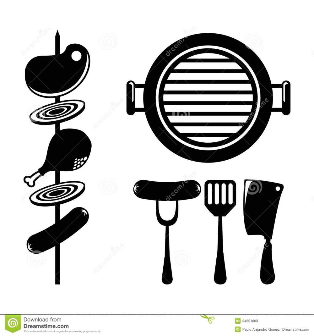 medium resolution of 1300x1390 bbq vector group with items