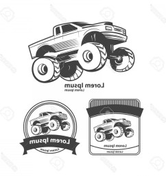 1560x1560 photostock vector monster truck bigfoot car design elements simple [ 1560 x 1560 Pixel ]