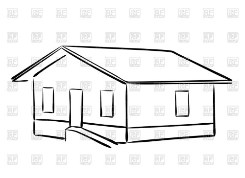 small resolution of 1200x874 outline of house vector image vector artwork of architecture