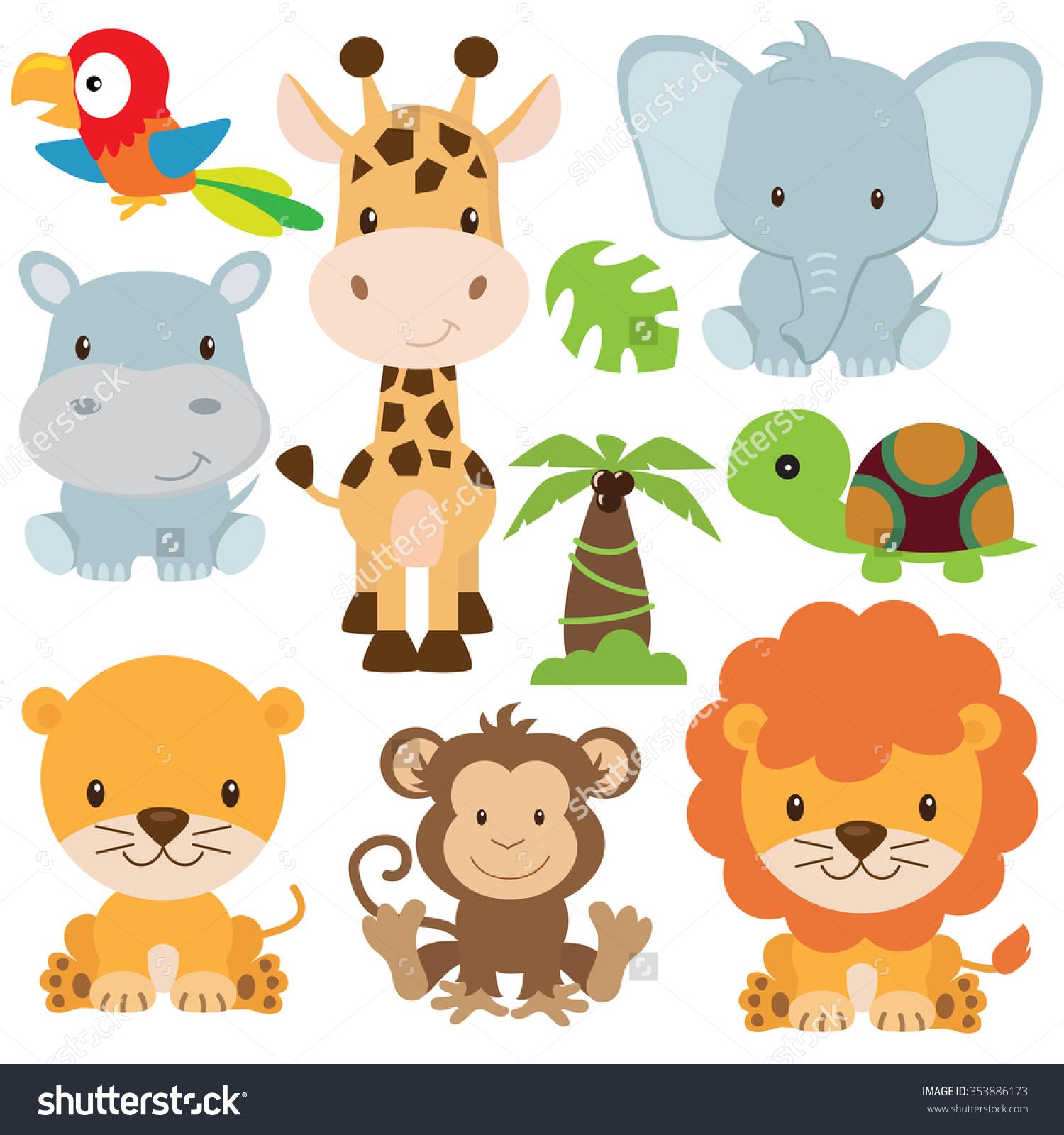hight resolution of 1500x1600 jungle animals clipart vector cute animal safari lemonize