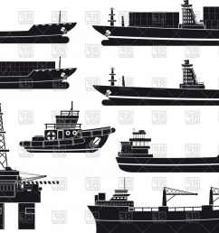 1440x1009 silhouettes of cargo vessels tugboat and oil platform vector [ 1440 x 1009 Pixel ]