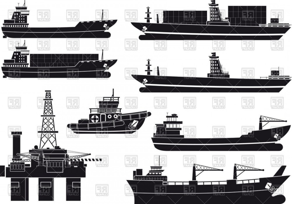 medium resolution of 1440x1009 silhouettes of cargo vessels tugboat and oil platform vector