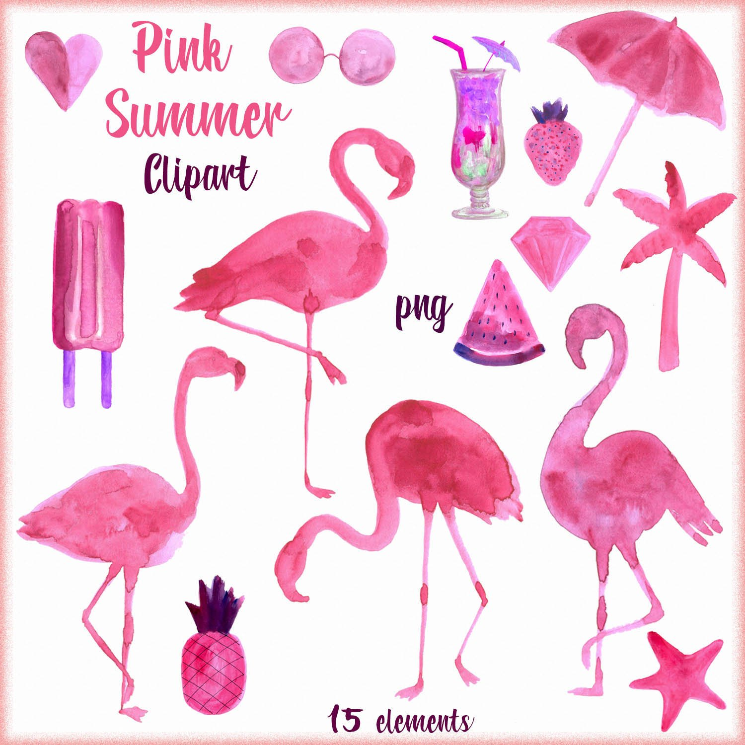 hight resolution of 1500x1500 watercolor flamingos clipart watercolor summer clipart etsy