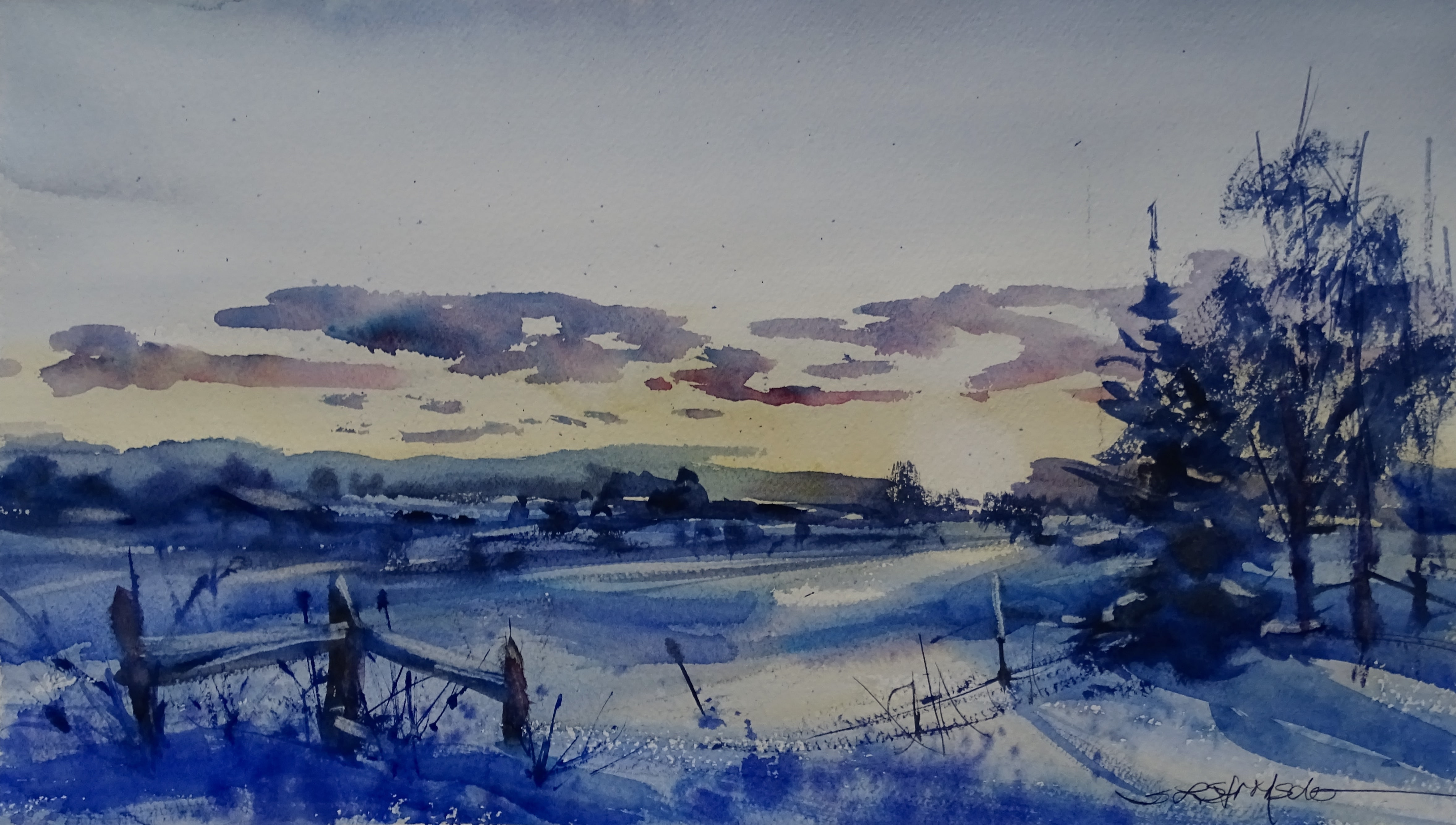 Watercolor Winter Scene At Getdrawings