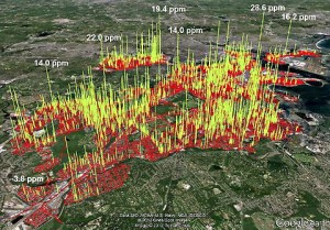 Methane leaks mapped as 3,356 spikes along 785 miles of road in Boston. Yellow indicates methane levels above 2.5 parts per million.