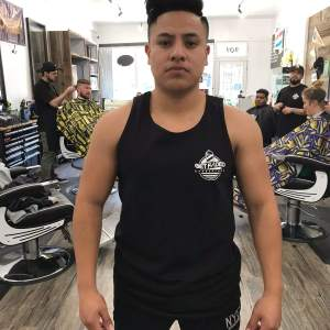 Front of Get Faded's Branded Black Tank Top
