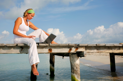 Woman on Jetty with Laptop