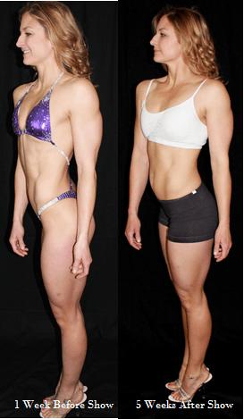 Figure side pose- reverse 5 weeks post show