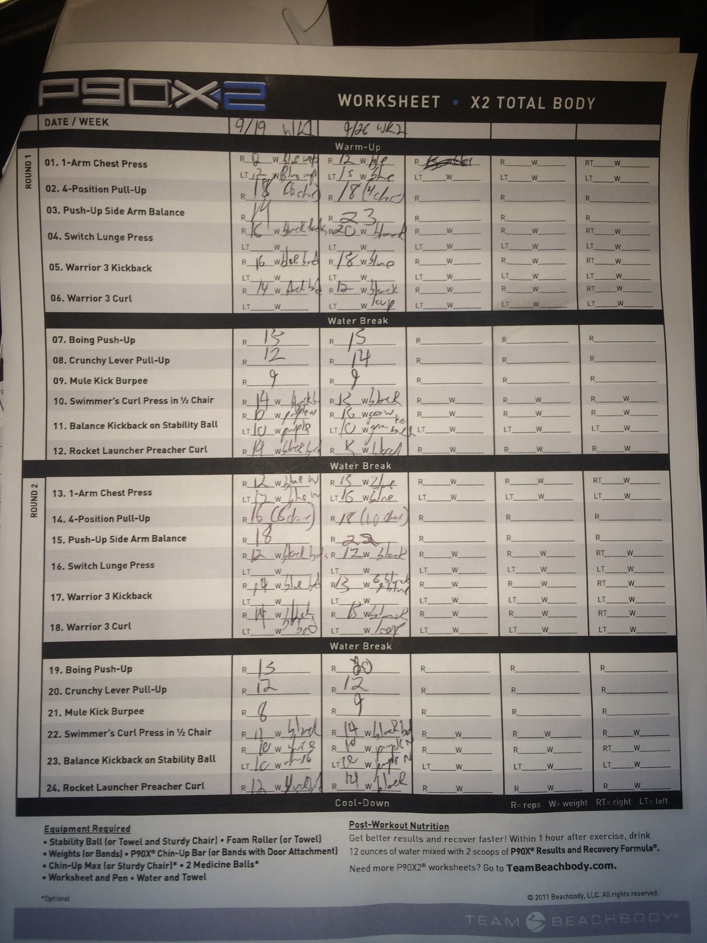 P90x2 Workout Sheets Pap