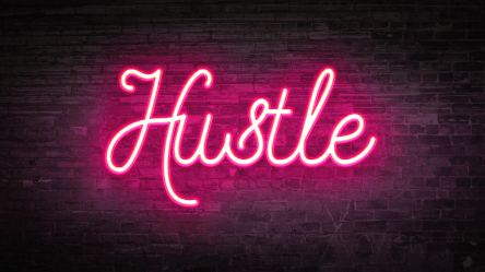 neon photoshop glow effect sign effects create signs pink hustle words led layout quotes tutorial treatment