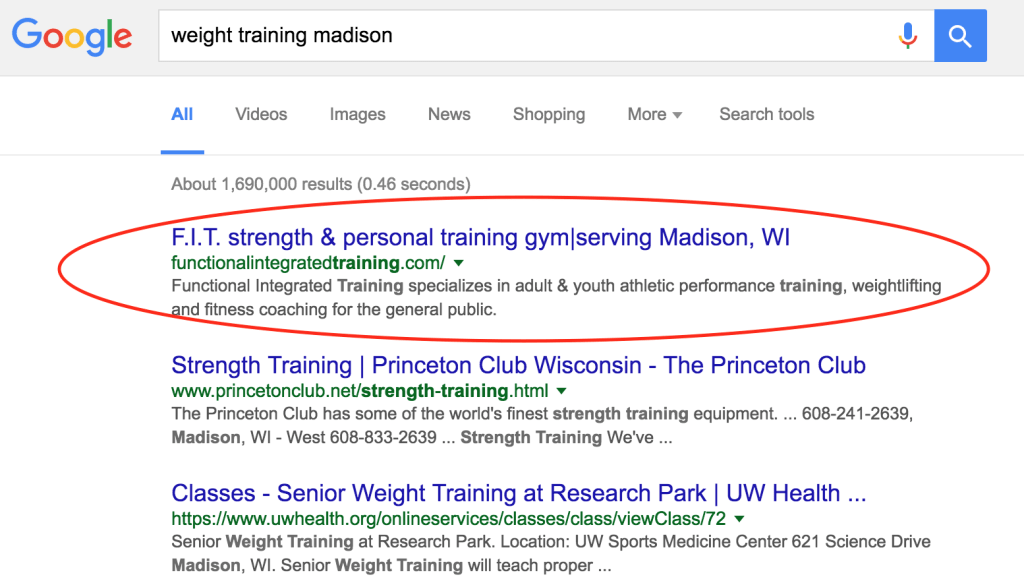 "Madison SEO result for ""weight training madison"""