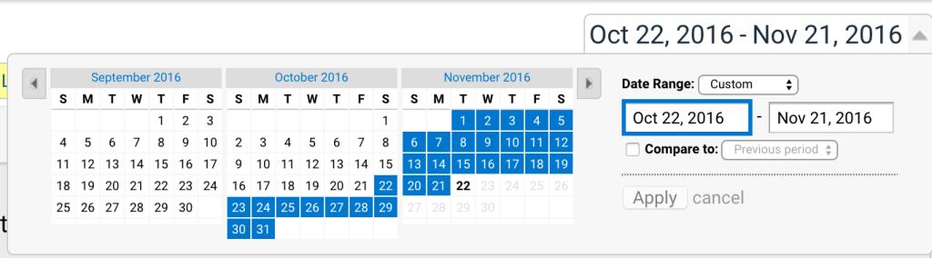 Google Analytics time range screenshot