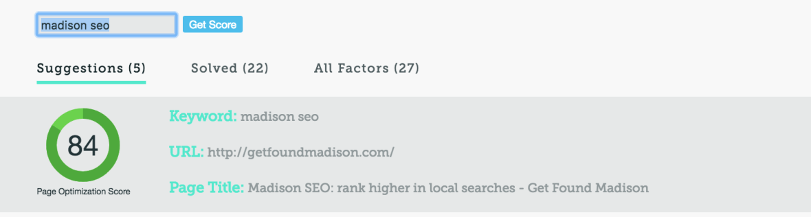 Madison SEO onsite grade