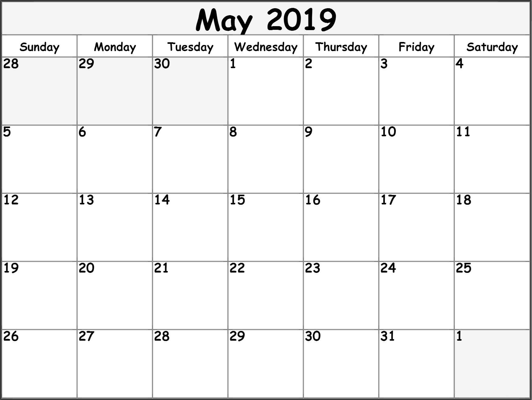May 2019 Printable Calendar Templates Free Blank Pdf Holidays