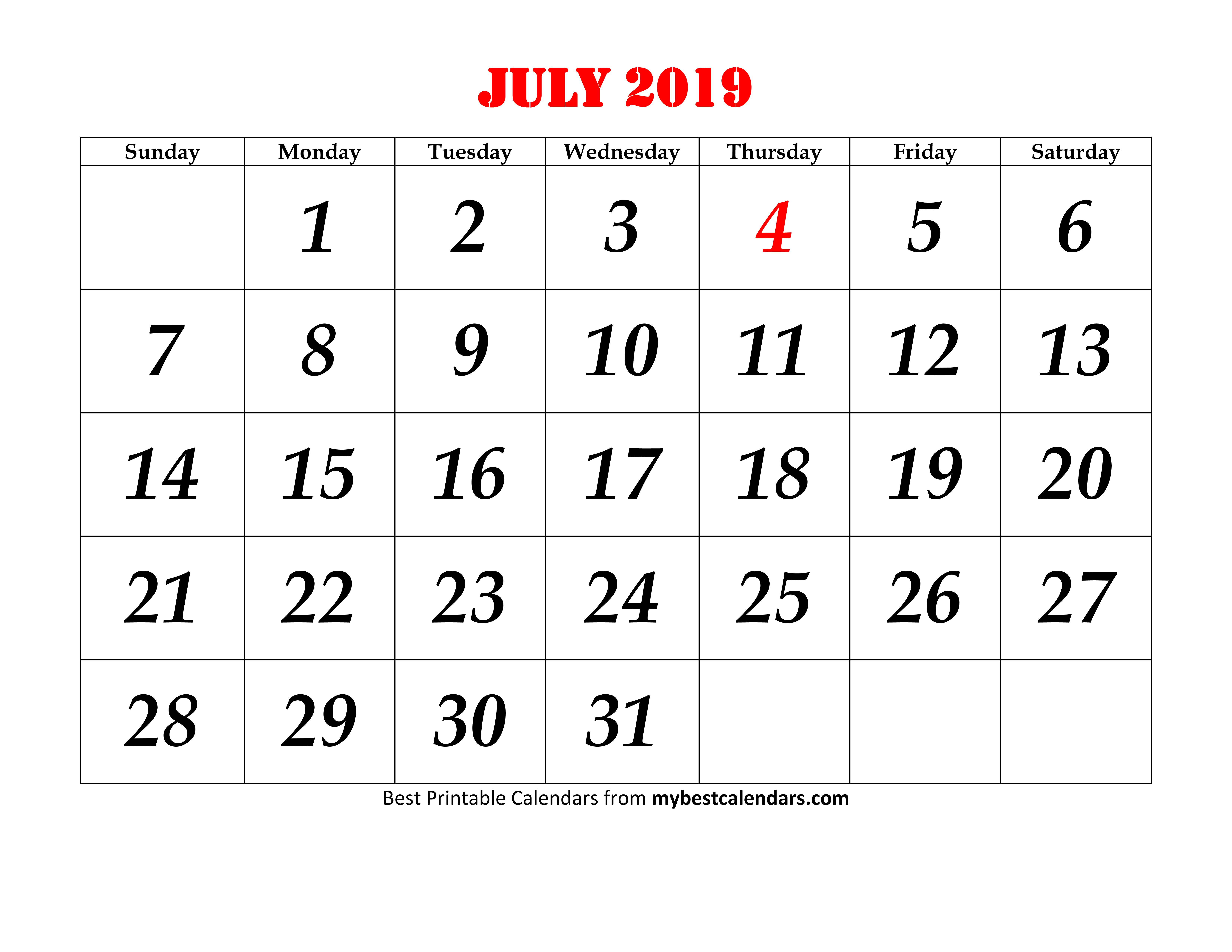 Download July 2019 Printable Calendar Holidays Events