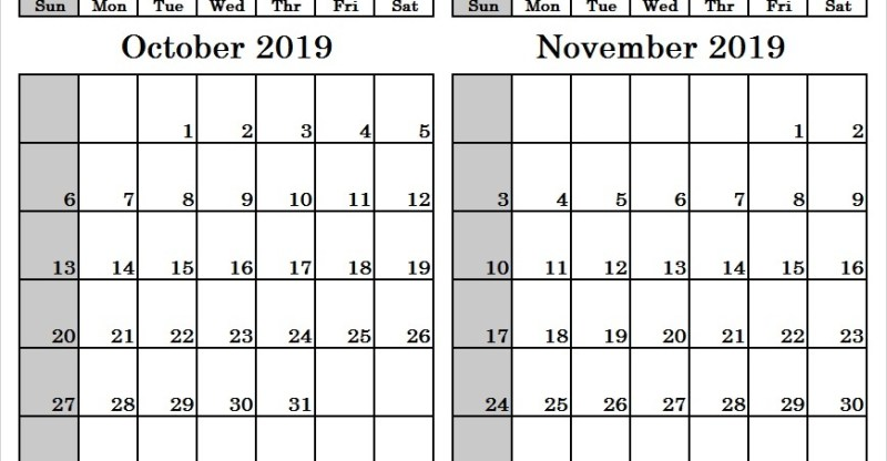 October And November 2019 Calendar Printable 2 Month