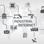 industrial internet of things bank money graph being drawn envelope robotic arm finger touching graphs cpu conveyor belt with boxes map boat satellite magnifying glass truck person dots making up world map in background grey background freepoint technologies