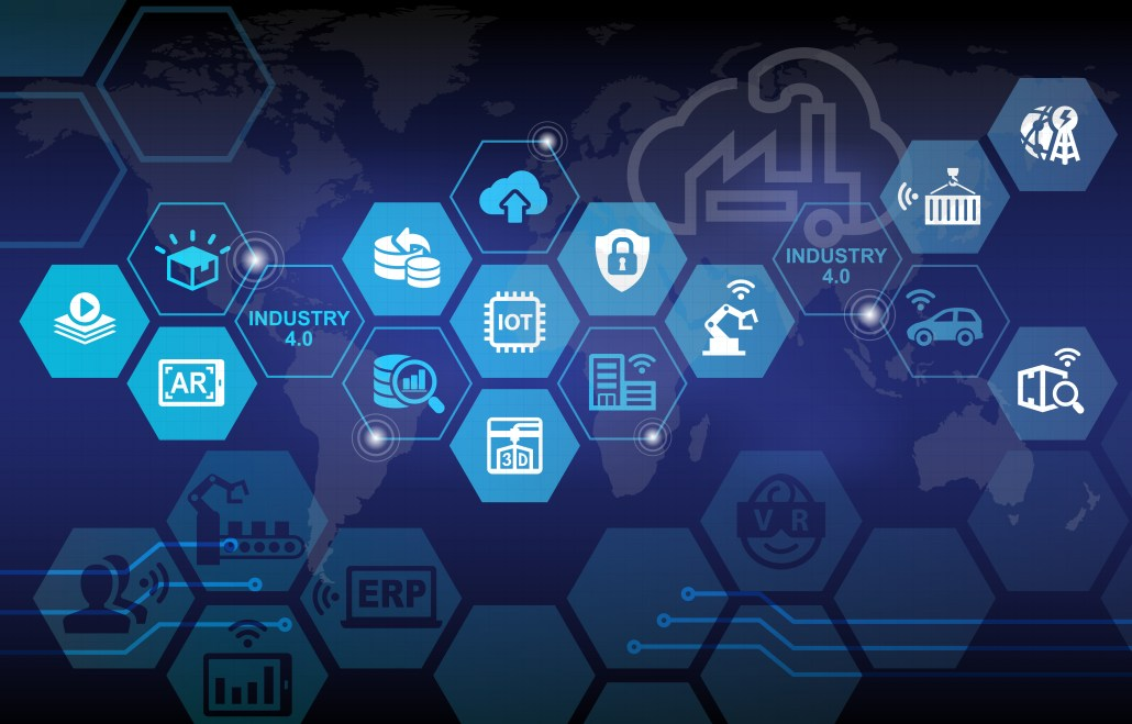 hexagonal icons in front of faint world map in background industry 4.0 freepoint technologies