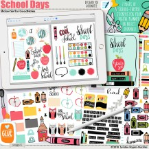 Back to school Scrapbook Ideas to Make Digital Scrapbooking Kit School Days Digital Stickers For Goodnotes