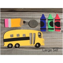Back to school Scrapbook Ideas to Make School Time Die Cut Set 5 Piece Set School Bus Crayons And